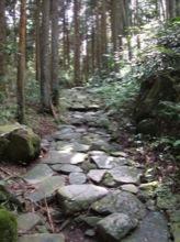 石の敷き詰められた古道。湿っていて、とても滑る。